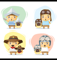 Little boy and dog in cute costume vector image
