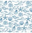 blue line seamless pattern of seashells vector image