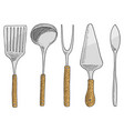 spatula for hot caviar and dessert fork for vector image
