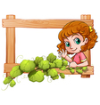 A frame with a cute young girl vector image vector image