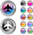 Aircraft multicolor round button vector image vector image
