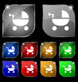 Baby Stroller icon sign Set of ten colorful vector image vector image