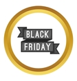 Black Friday sale ribbon icon vector image vector image