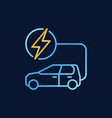 blue electric car with golden lightning vector image vector image
