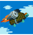cartoon turtle with rocket turbine vector image vector image