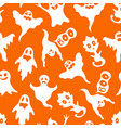 cartoon white ghosts characters seamless pattern vector image vector image