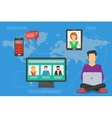 Concept of Internet communication around a world vector image vector image