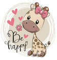 cute cartoon giraffe with flower vector image vector image