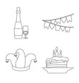 design of party and birthday sign set of vector image vector image