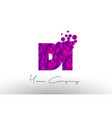 di d i dots letter logo with purple bubbles vector image