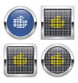 dotted icon fist on glossy button in four vector image vector image
