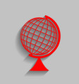 earth globe sign red icon with soft vector image vector image