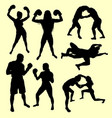 fighting male and female sport silhouette vector image vector image