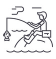 fishing man with rod line icon sign vector image vector image