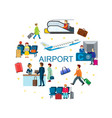 flat airport round concept vector image vector image
