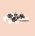 flowers hand drawn color invitation template vector image vector image