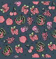 fruit seamless sketch on grey background vector image