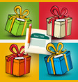 gift boxes set present box on colorful backgrounds vector image vector image