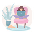 girl works from home sitting in a armchair vector image