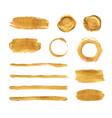 gold paint brush strokes set design