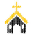 halftone dot christian church icon vector image vector image