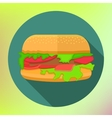 hamburger icon long shadow flat vector image