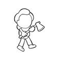 hand-drawn cartoon of lumberjack man holding axe vector image vector image