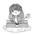 happy little girl reading book in the field vector image vector image