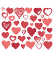 hearts icons hand drawn for valentines day vector image