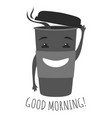 hipster graphic with cute cup coffee or tea vector image
