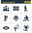 Icons set premium quality of sports attributes vector image vector image