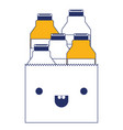 kawaii paper bag with milk bottles in color vector image