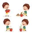 kid planting vector image vector image