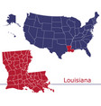 louisiana map counties with usa map vector image vector image