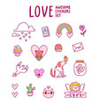 love awesome sticker set vector image vector image