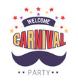 mustache and stars isolated icon carnival party or vector image vector image