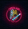 neon open air sign with microphone guitar and vector image