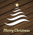 Original Christmas tree from waves on wood vector image vector image