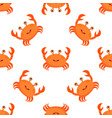 pattern with cartoon crabs isolated on white vector image vector image