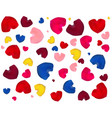 pink yellow blue and red hearts vector image vector image