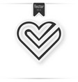 red paper heart with white tick on the gray vector image vector image