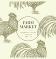 seamless farm pattern graphical rooster vector image