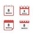 set calendar icon 8 march happy womens day icon vector image vector image