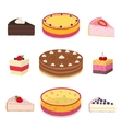 Set of different hipster cakes cheesecakes pies vector image vector image