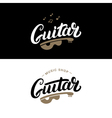 Set of guitar shop hand written lettering logos vector image vector image