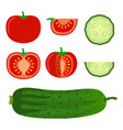 set of vegetables - tomato and cucumber in flat vector image vector image