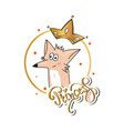 slogan print with cute fox vector image