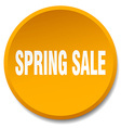 spring sale orange round flat isolated push button vector image vector image