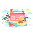summer time theme with music and people sunbathing vector image