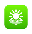 sun energy icon green vector image vector image